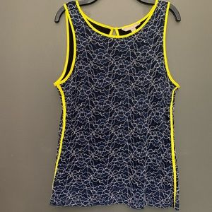 Banana Republic Navy Blue And Yellow Lace Top